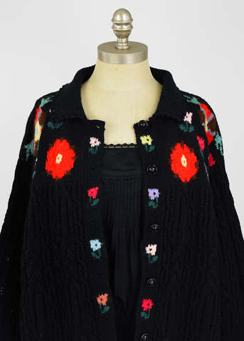 Vintage 80s Floral Sweater | 1980s Black Wool Cable Knit Cardigan (L/XL Plus Size)