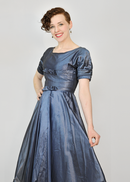 Vintage 50s Evening Dress | 1950s Blue Organza Circle Skirt Party Dress S/M