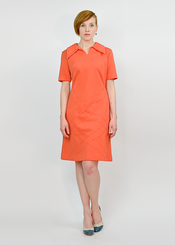 Vintage 60s Shift Dress | 1960s Donovan Galvani Mod Coral Knit Dress (M/L)