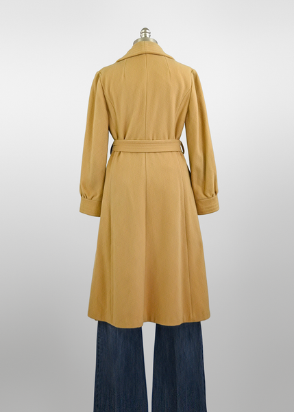 Vintage 1970s Camel Coat | 70s Does 1940s Tan Wool Wrap Coat with Belt (8/10/M)