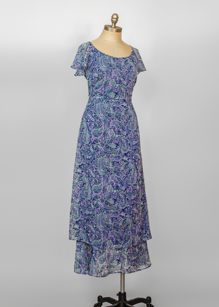 Vintage 30s Style Flutter Sleeve Maxi Dress | 1990s Liberty Paisley Print Long Chiffon Dress (M)