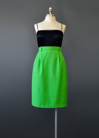 Vintage 70s Green Pencil Skirt | 1970s High Waist Woven Rayon Linen Skirt (M)