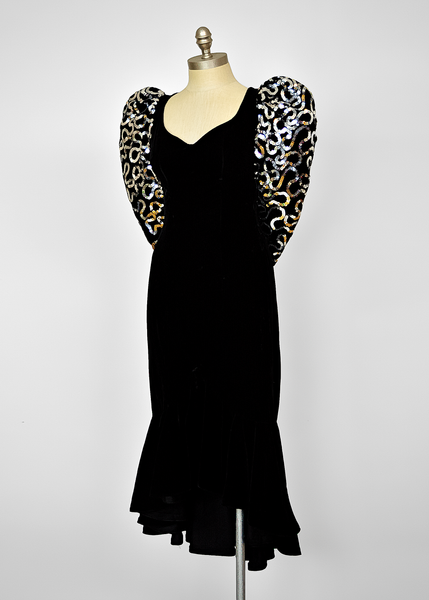 Vintage 80s Sequin Party Dress | 1980s Puff Sleeve Black Velvet Dress (XXS/XS/S)