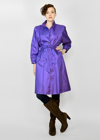 Vintage 80s Trench Coat | 1980s Violet Purple Belted Rain Jacket
