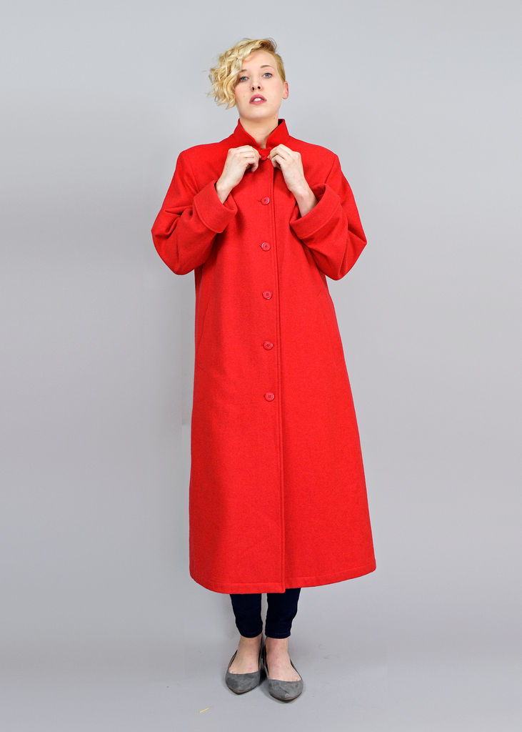 Vintage 60s Winter Dress Coat | 1960s Misty Harbor Long Red Wool Coat M/L
