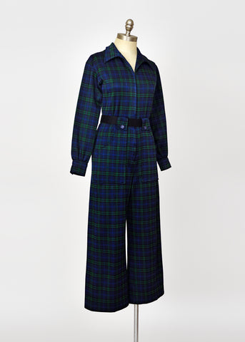Vintage 70s Mod Navy Plaid Wide Leg Jumpsuit - S/M