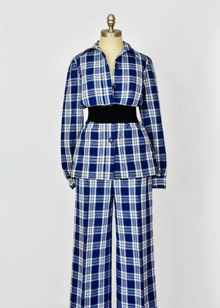 Vintage 1970s Plaid Wool Pant Suit - Navy Blue and White - M