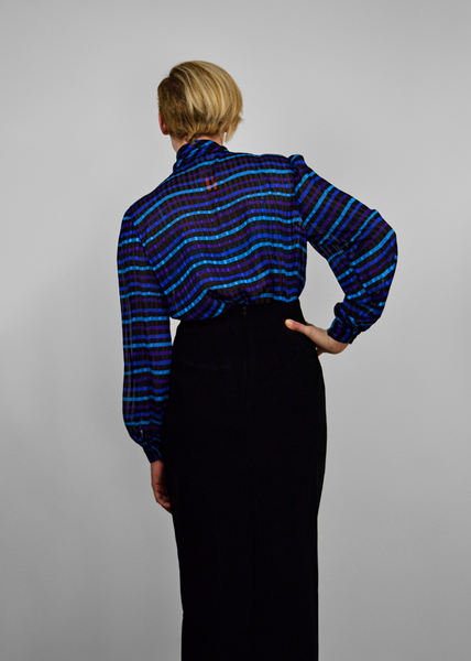 70s Secretary Blouse | 1970s Sheer Striped Plaid Chiffon Pussy Bow Blouse | Blue Black Purple | Womens Size Medium M L Large | Red Plume Vintage Clothing