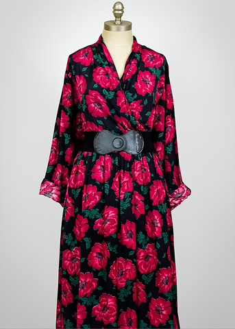 Vintage 80s Floral Midi Dress | 1980s Black and Fuchsia Poppy Print Wrap Dress (M)