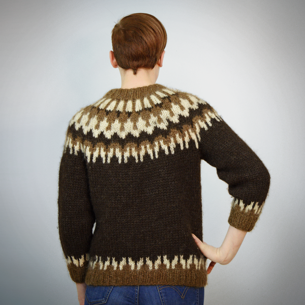 Vintage 50s Fair Isle Sweater | 1950s Hilda Ltd Iclandic Wool Sweater S/M