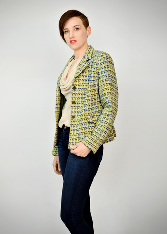 90s Chanel Style Suit Jacket | 1990s Talbots Italian Wool Plaid Blazer (M)