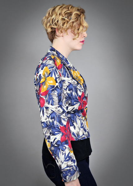 90s Linen Jacket | 1990s Jones New York Tropical Floral Print Blazer (M)