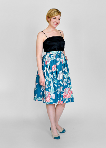 SOLD!!! Vintage 50s Circle Skirt | 1950s Teal Blue Floral Print Cotton Swing Skirt