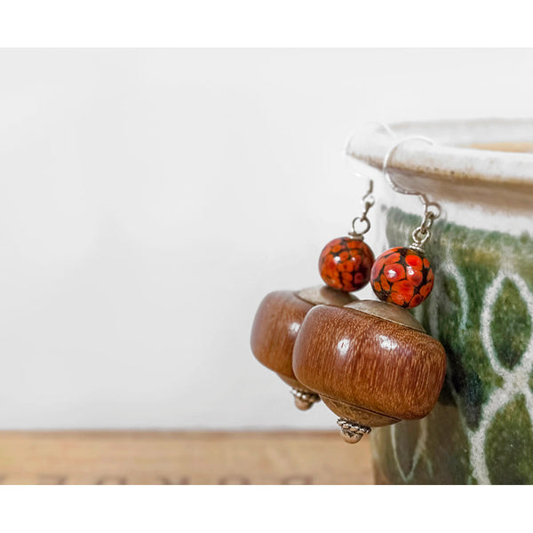 Bohemian Beaded Dangle Earrings | Sterling Silver Lampwork Glass & Wood | Boho Jewelry | Red Plume Vintage Clothing | Handmade Artisan Jewellery