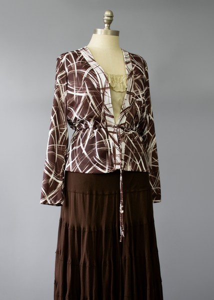 Vintage 70s Cardigan | 1970s Brown & White Abstract Print Peplum Jacket S/M