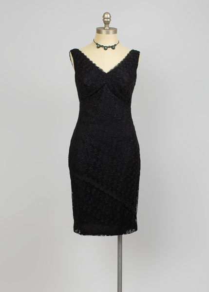 Vintage Black Lace Wiggle Dress | 1990s Donna Ricco Cocktail Dress (M)