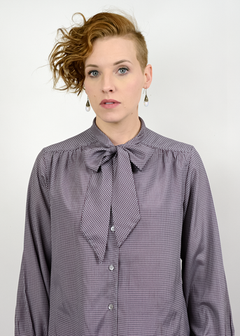 Vintage 70s Pussy Bow Blouse | 1970s Even Picone Grey Burgundy Plaid Blouse (M/L)