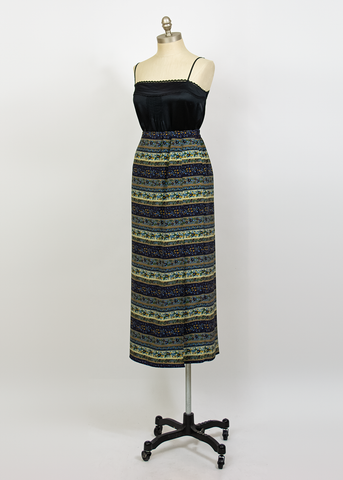 Vintage 90s Maxi Skirt | 1990s Joan Leslie Striped Floral Print Wrap Skirt (L/XL)