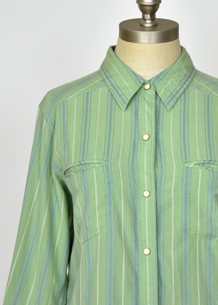 Vintage 90s Mint Green Striped Cotton Snap Button Shirt | Womens Size Medium Large