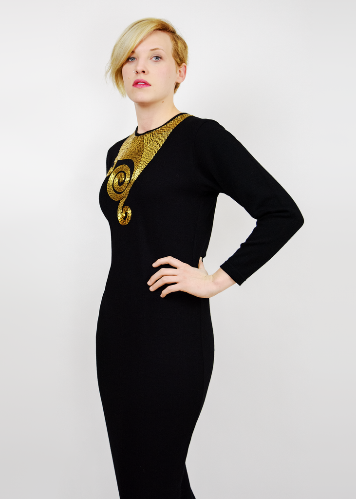 Vintage 80s Party Dress | 1980s Adrienne Vittadini Gold Beaded Black Wool Dress (M)