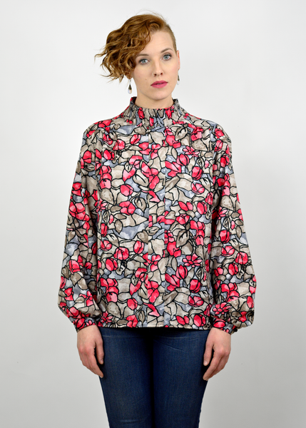 Vintage 60s Secretary Blouse | 1960s Abstract Floral Print Mod Shirt (L/XL)