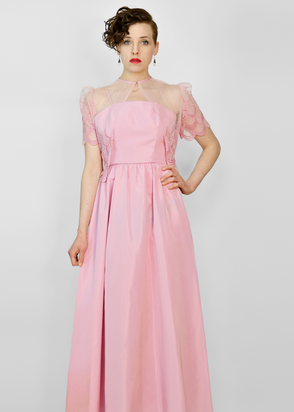 Vintage 70s Evening Gown | 1970s Pink Taffeta Dress & Lace Bolero Jacket Set