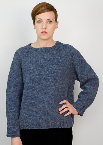 Vintage 70s Hand Knit Wool Sweater | 1970s Slate Blue Oversize Sweater (M/L)