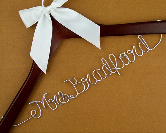 personalized wire name wedding hanger