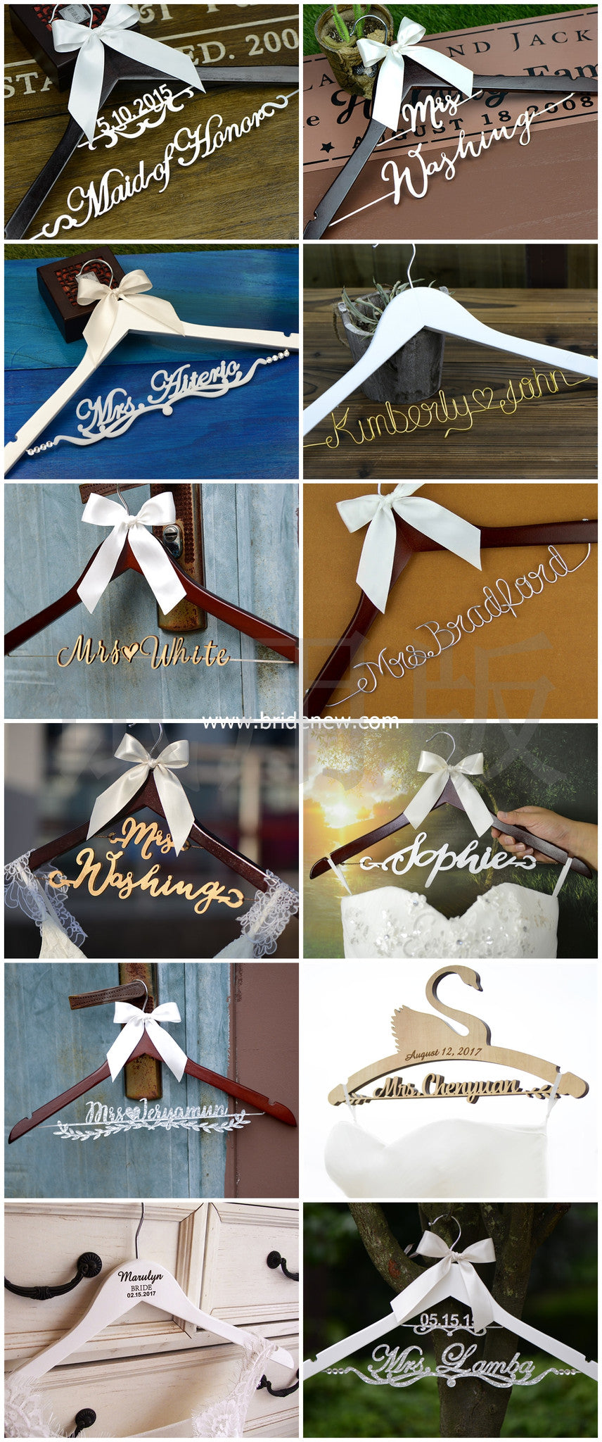 bridenew personalized wedding hangers collection for basic styles