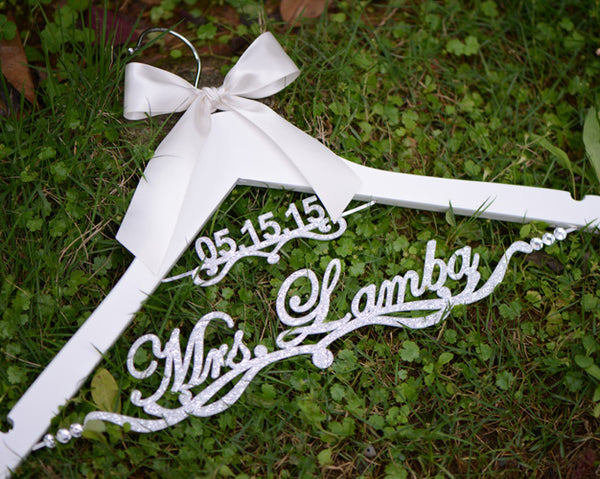 wedding hanger with acrylic name