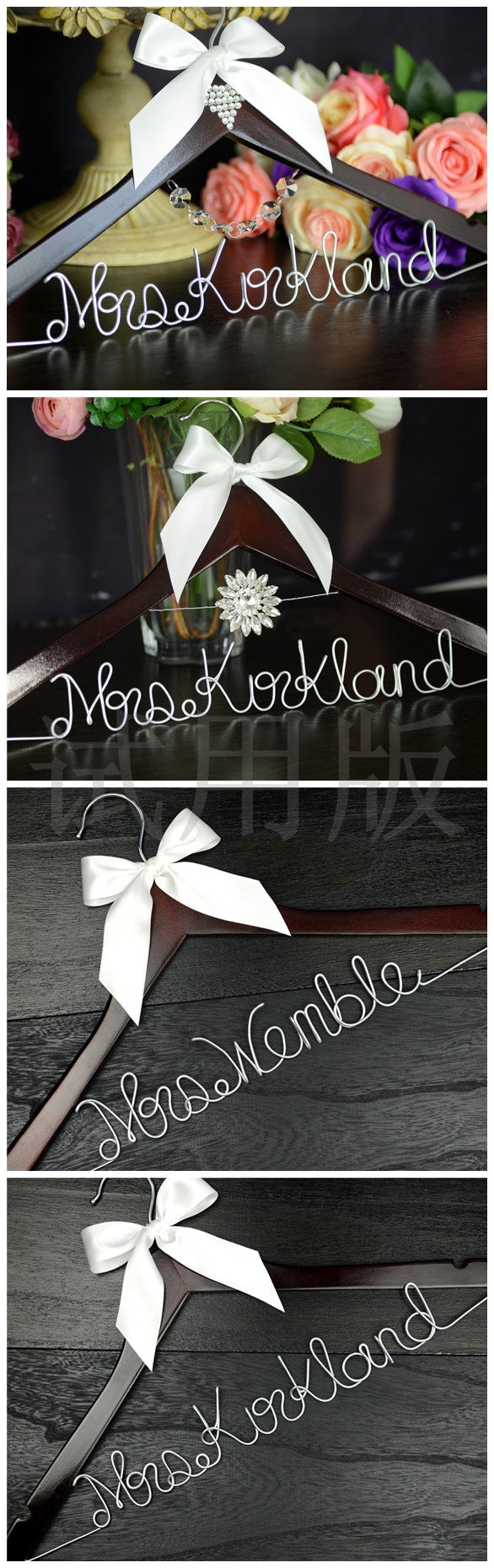 bridenew wedding dress hanger with wire bride name font E
