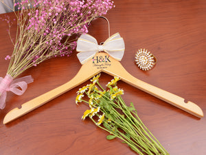 Wedding Hanger with First Names, Personalized Gifts with Floral Initials and Date, Bridal Hangers