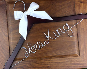 Personalized Wedding Hanger, Custom Bridal Wire Name Hanger, Bride or Bridesmaid Name Hanger-Font E