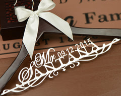 Personalized Wedding dress Hanger, Deluxe Custom Bridal Hanger, Bride Name Hanger, Bridesmaid Hanger, wedding gift  EL005