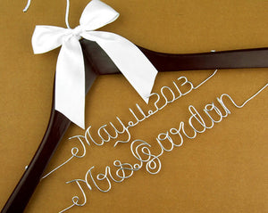 Double Layer Wedding Hanger with Custom Bridal Name and Date, Wedding Shower Gift