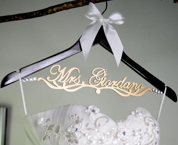 bridesmaid gift  personalized wedding hanger  wooden