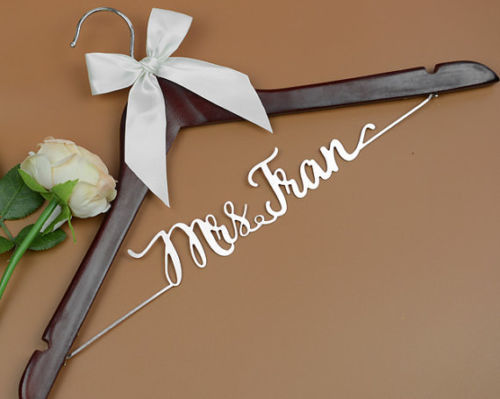 Deluxe Personalized wedding dress hanger, Bride or Bridesmaid Name Hanger EL027