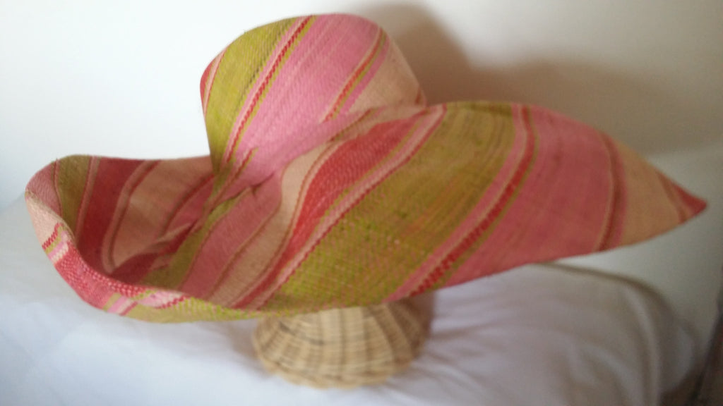 Striped  wide brim ladies sun hat