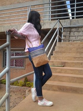 Large Messenger bags cork and raffia