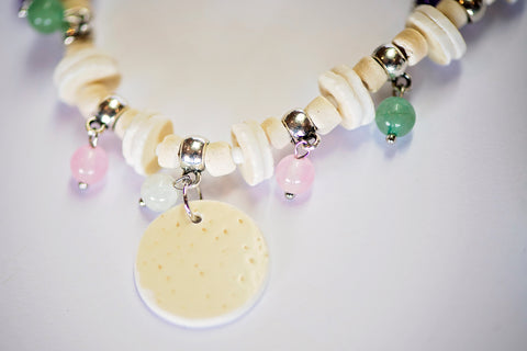 Ostrich Eggshell & Gemstone necklace