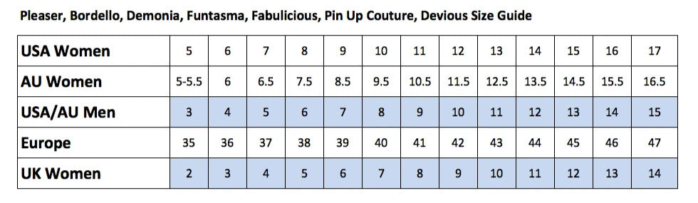 Showgirl Wigs Pleaser Shoes Sizing Chart