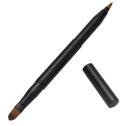 Professional Retractable 2-Way Lip Brush - Black