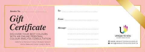 Online Colour Consultation Gift Certificate (includes Swatch Book)