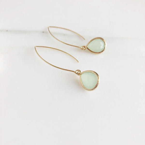 Exquisite Gold Teardrop Earrings in Light Chartreuse