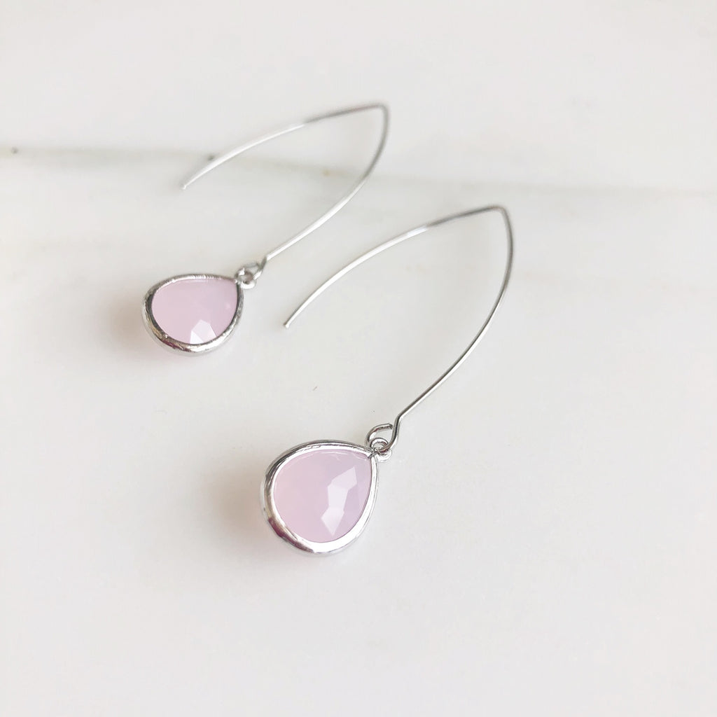 Exquisite Silver Teardrop Earrings in Pink Quartz