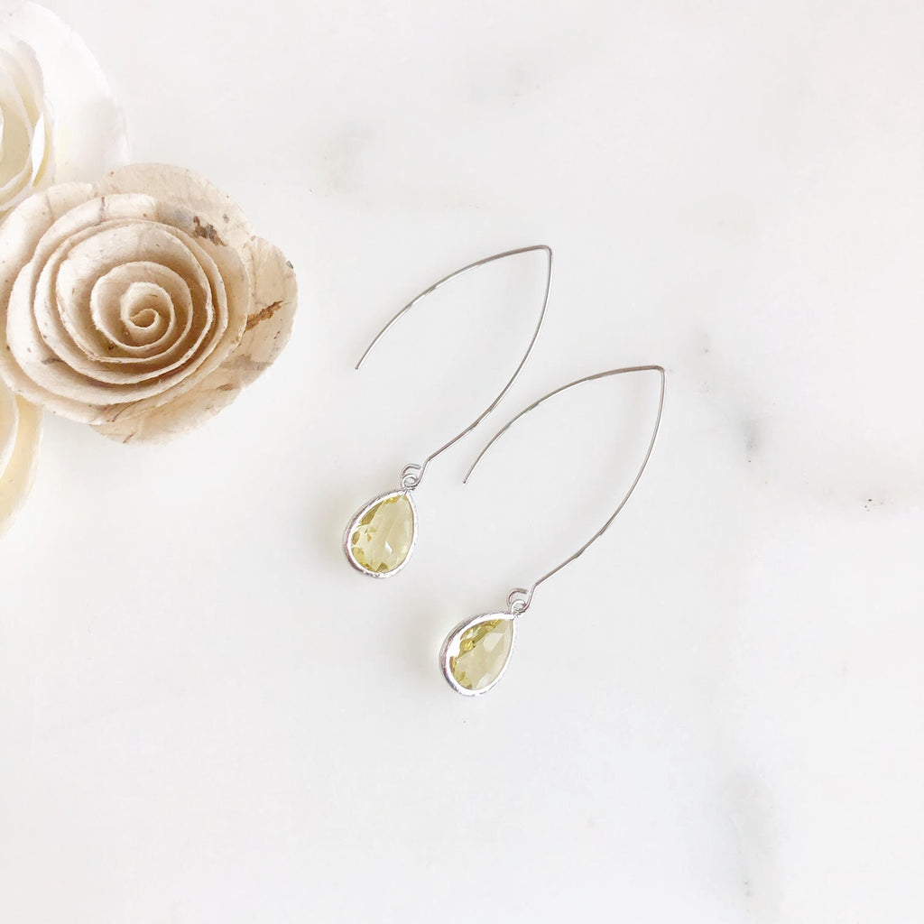 Exquisite Silver Teardrop Earrings in Citrine
