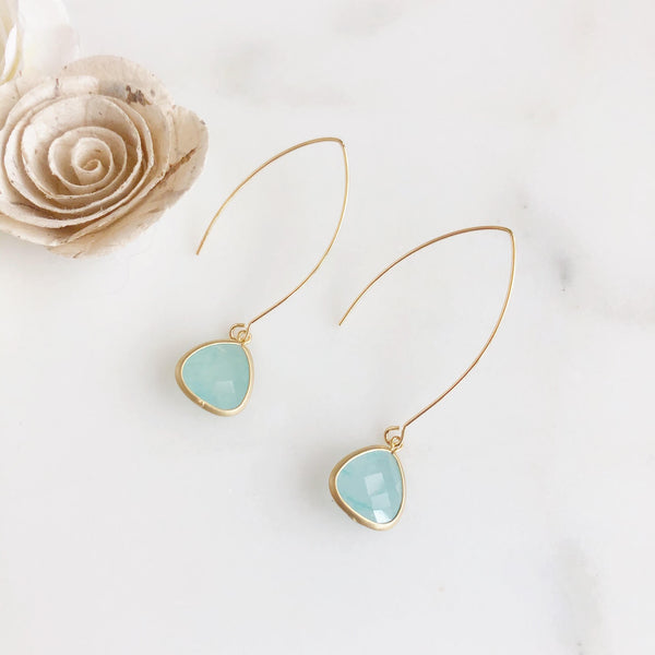 Exquisite Gold Teardrop Earring in Soft Turquoise
