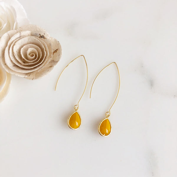 Exquisite Gold Teardrop Earrings in Mustard Yellow