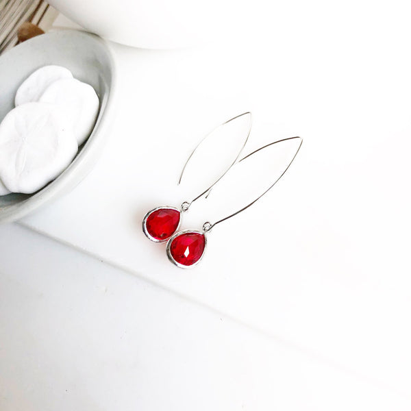 Exquisite Silver Teardrop Earrings in Cranberry Red