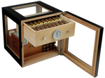 Foto_Adorini_Cube_Deluxe_Humidor_Farbe Schwarz_Front_Ansicht_offen